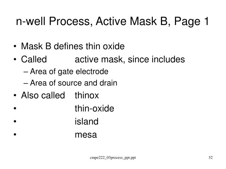 n-well Process, Active Mask B, Page 1