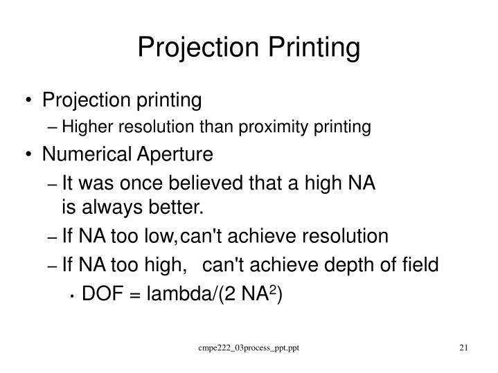 Projection Printing