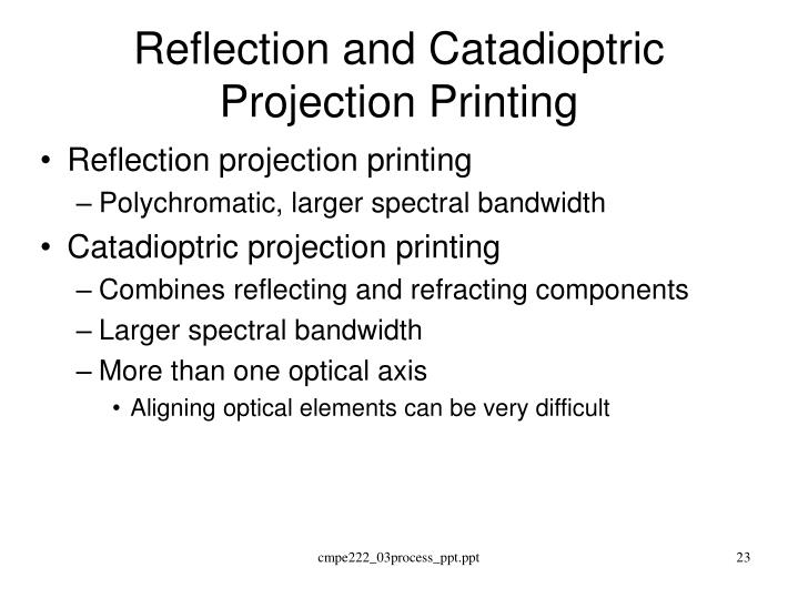 Reflection and Catadioptric Projection Printing