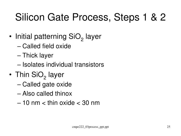 Silicon Gate Process, Steps 1 & 2