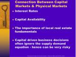 connection between capital markets physical markets