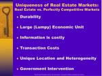 uniqueness of real estate markets real estate vs perfectly competitive markets