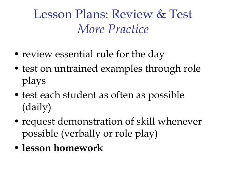 Lesson Plans: Review & Test