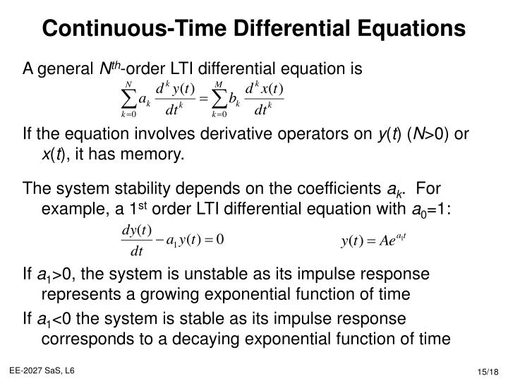 Continuous-Time Differential Equations