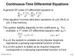 continuous time differential equations
