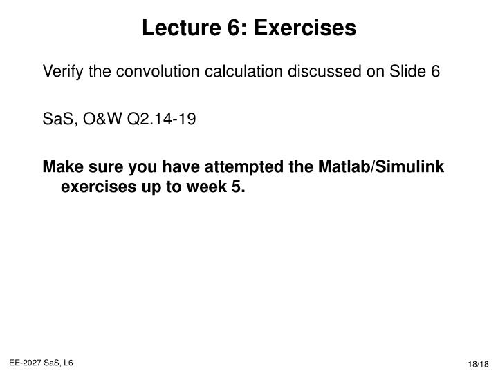 Lecture 6: Exercises