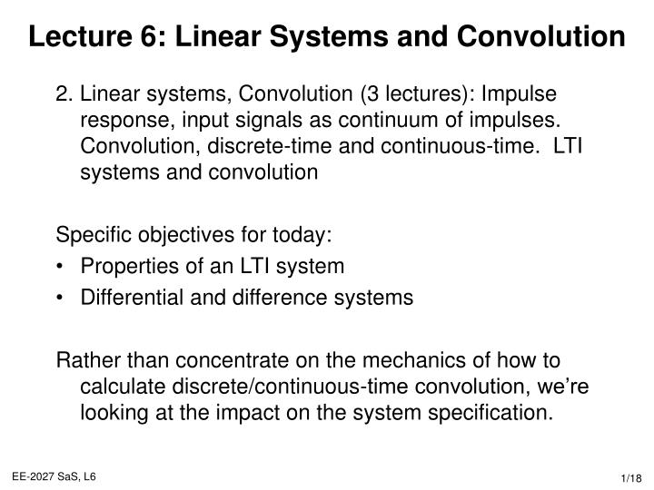 Lecture 6 linear systems and convolution