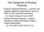 two categories of routing protocols
