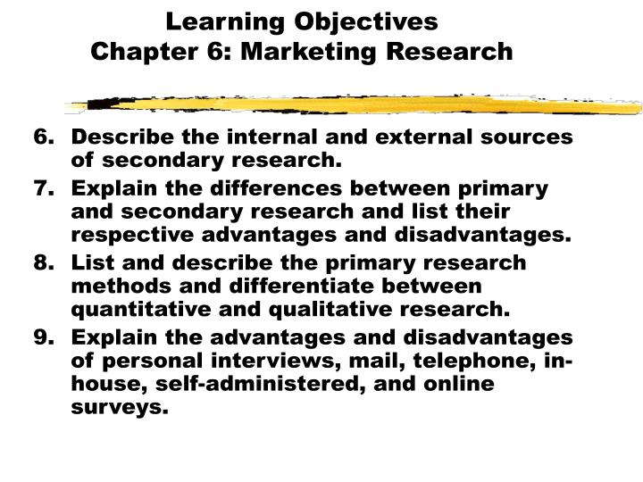 Learning objectives chapter 6 marketing research1