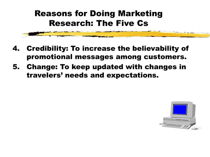 Reasons for Doing Marketing Research: The Five Cs