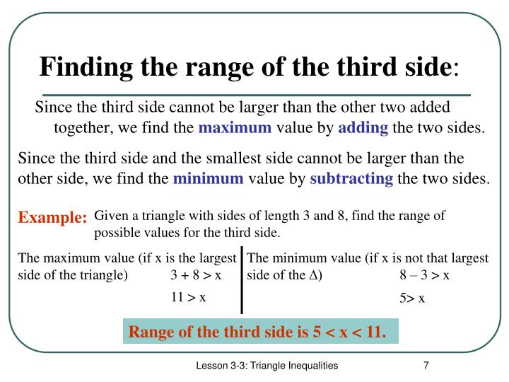 Finding the range of the third side