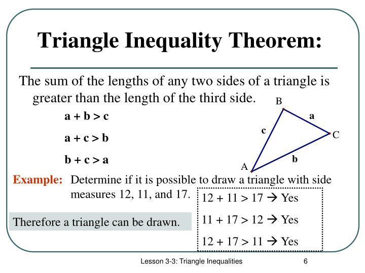 Triangle Inequality Theorem: