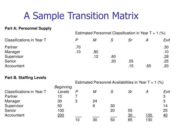 A Sample Transition Matrix