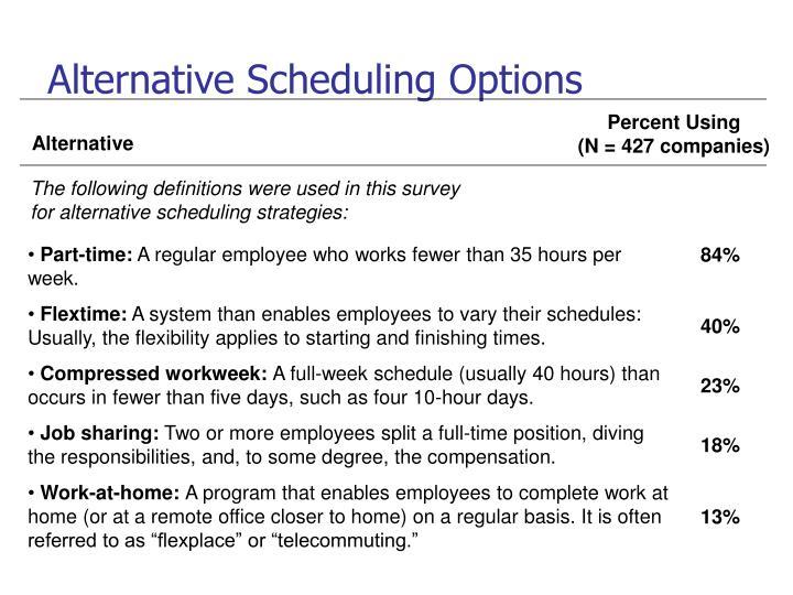 Alternative Scheduling Options