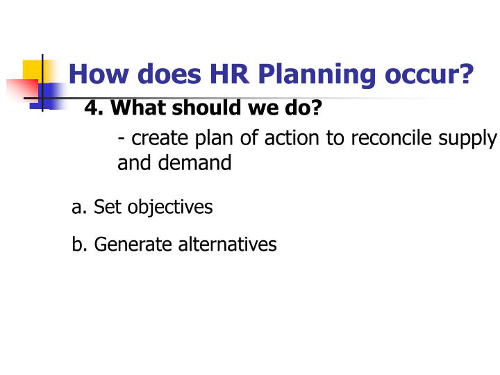 How does HR Planning occur?