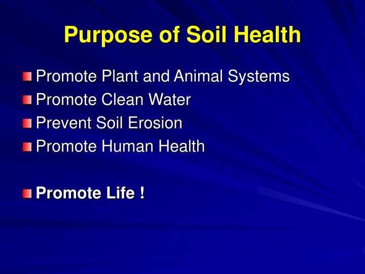 Purpose of Soil Health