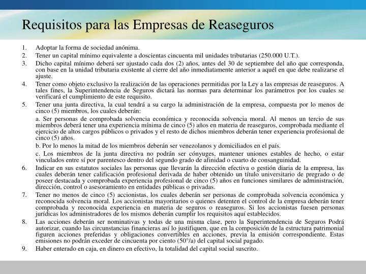 Requisitos para las Empresas de Reaseguros