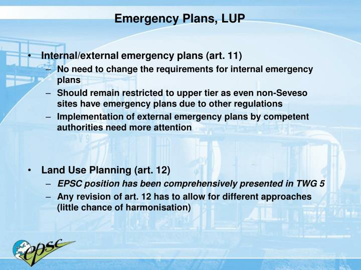 Emergency Plans, LUP
