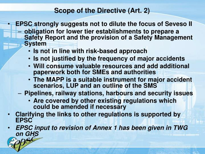 Scope of the Directive (Art. 2)