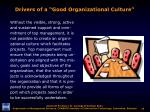 drivers of a good organizational culture