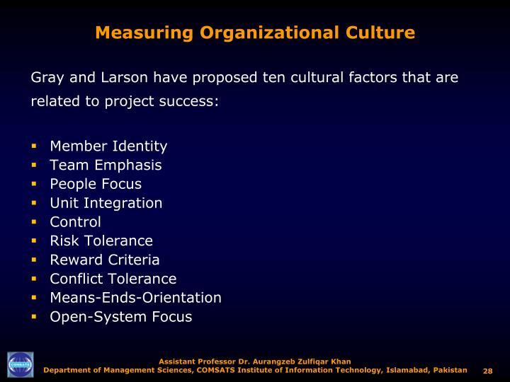 Measuring Organizational Culture