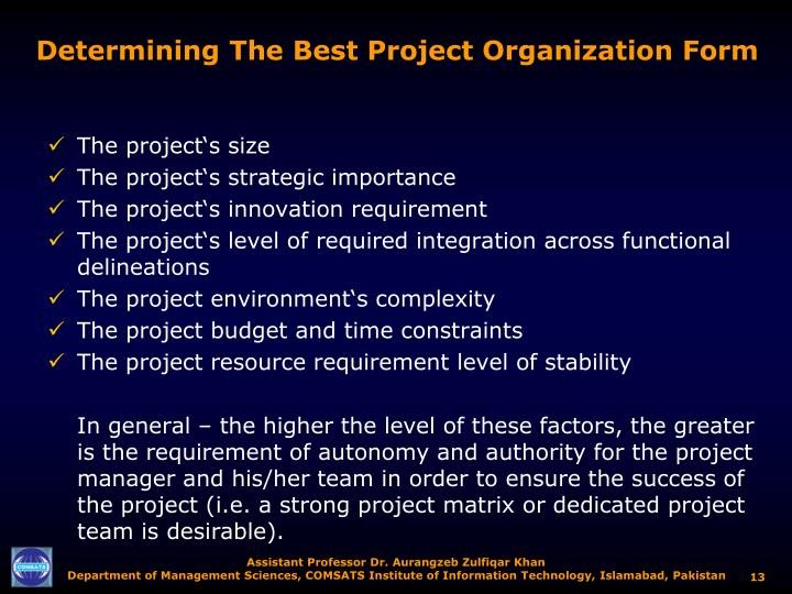 Determining The Best Project Organization Form