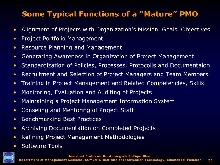 """Some Typical Functions of a """"Mature"""" PMO"""