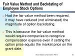 fair value method and backdating of employee stock options