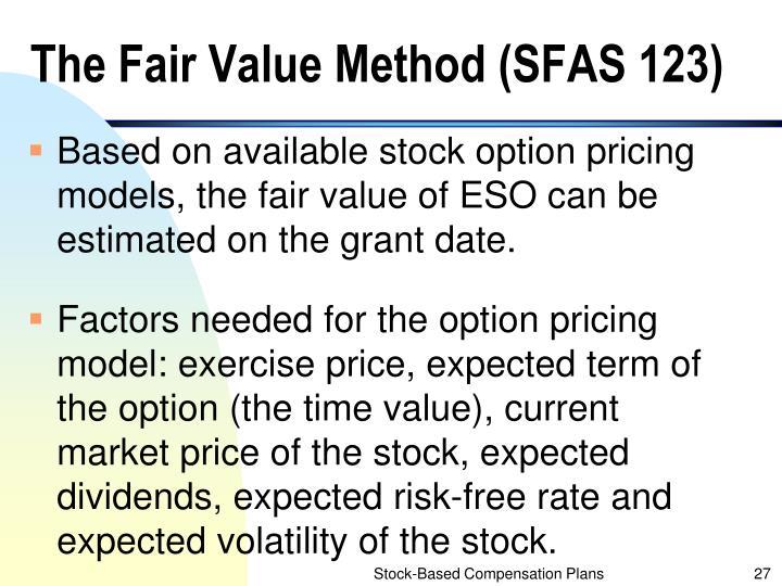 The Fair Value Method (SFAS 123)