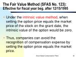 the fair value method sfas no 123 effective for fiscal year beg after 12 15 1995