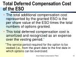 total deferred compensation cost of the eso