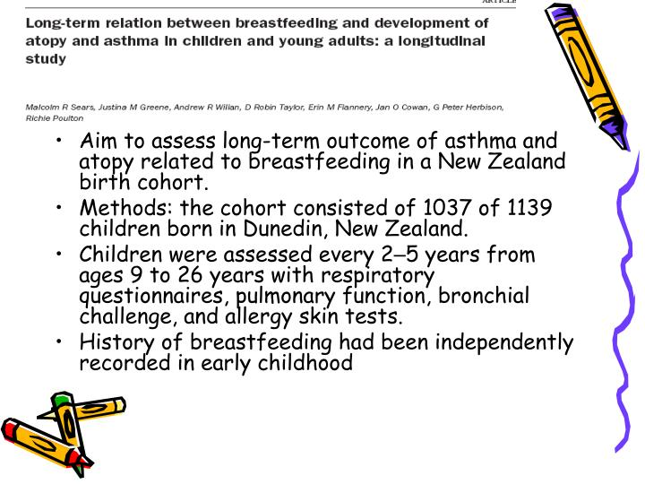 Aim to assess long-term outcome of asthma and atopy related to breastfeeding in a New Zealand birth cohort.