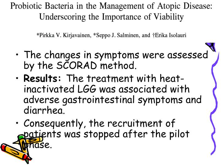 The changes in symptoms were assessed by the SCORAD method.