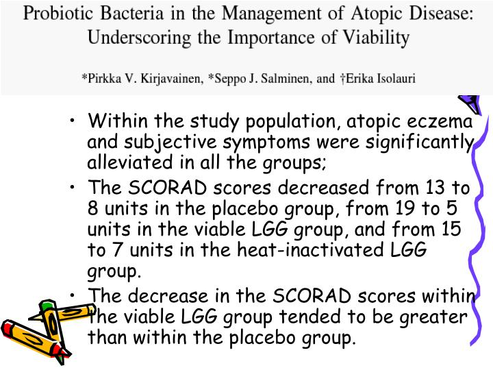 Within the study population, atopic eczema and subjective symptoms were significantly alleviated in all the groups;