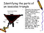 identifying the parts of an isosceles triangle1