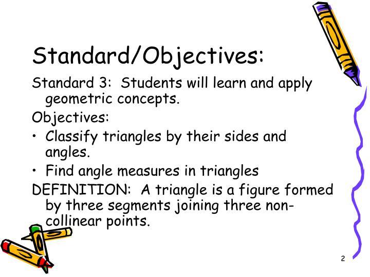 Standard/Objectives: