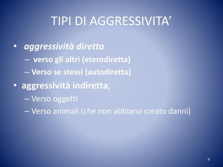 TIPI DI AGGRESSIVITA'