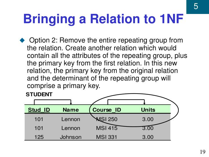 Bringing a Relation to 1NF