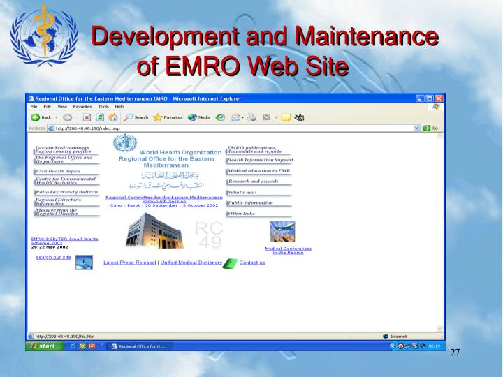 Development and Maintenance of EMRO Web Site