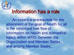 information has a role