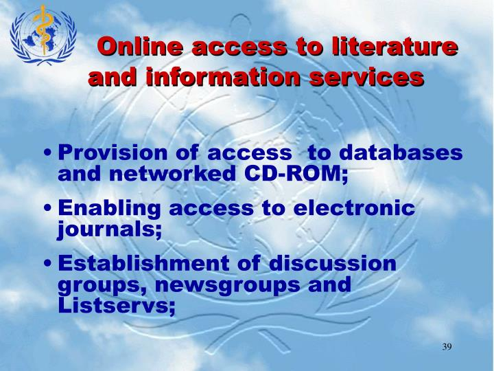 Online access to literature and information services