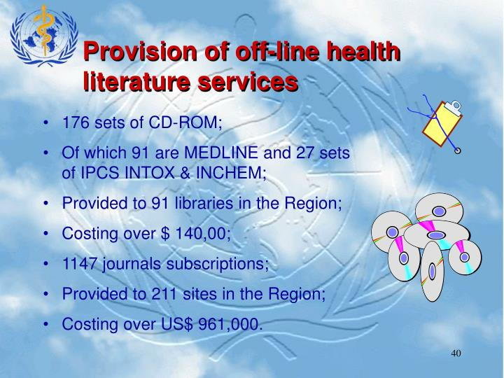 Provision of off-line health literature services