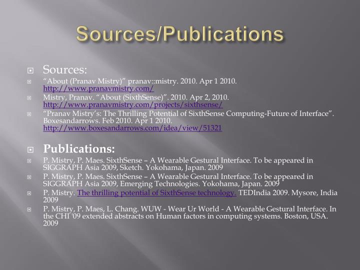 Sources/Publications