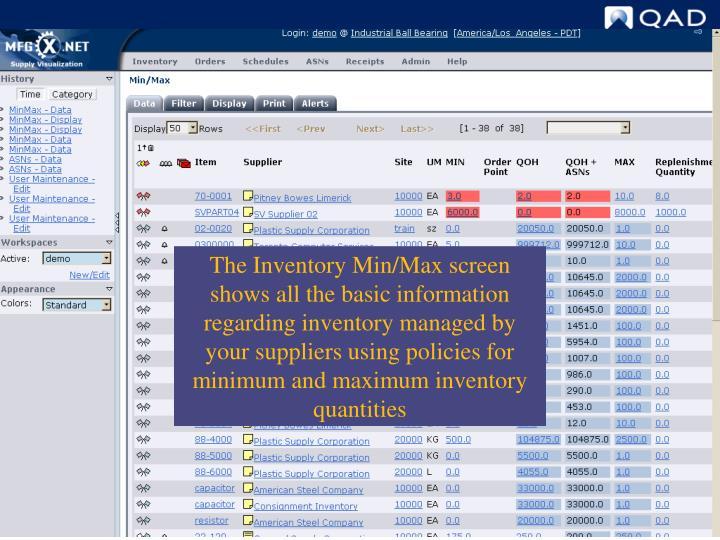 Min/Max Screen