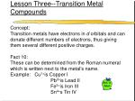 lesson three transition metal compounds