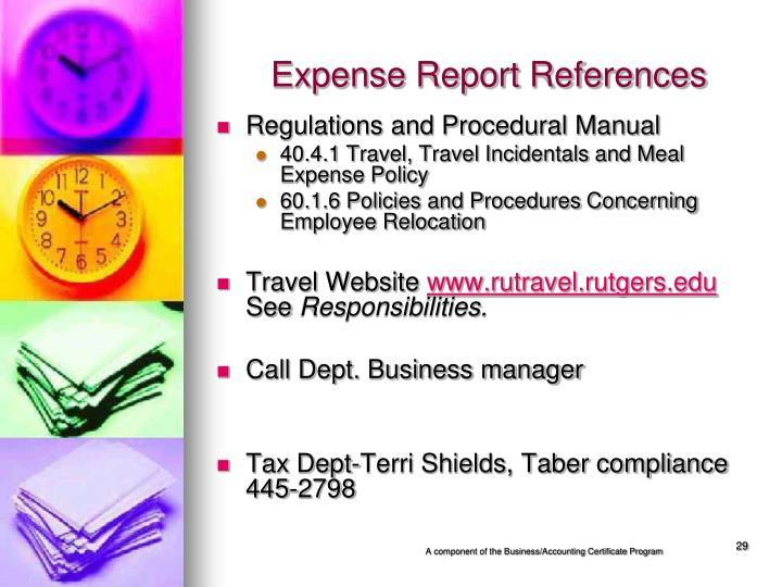 Expense Report References