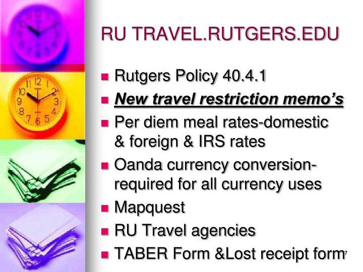 RU TRAVEL.RUTGERS.EDU