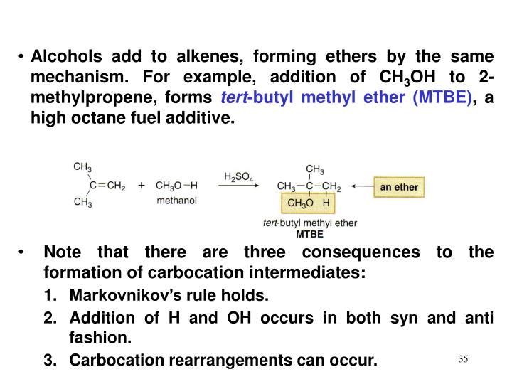 Alcohols add to alkenes, forming ethers by the same mechanism. For example, addition of CH