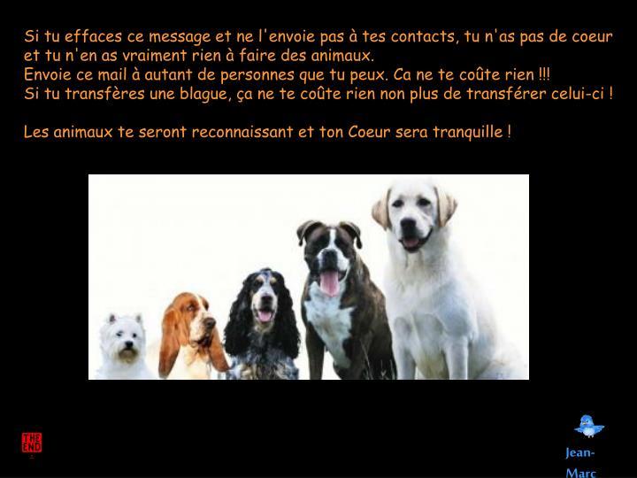 Si tu effacesce message et ne l'envoie pas à tes contacts, tun'as pas de coeur et tu n'en as vraiment rien àfaire des animaux.