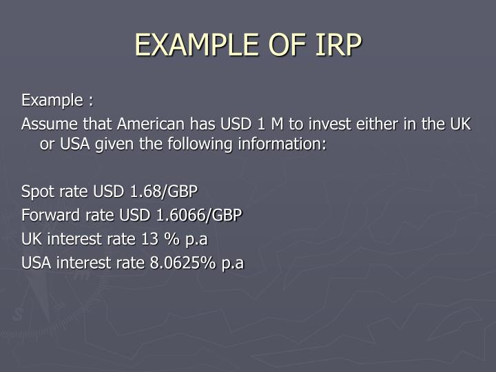 EXAMPLE OF IRP